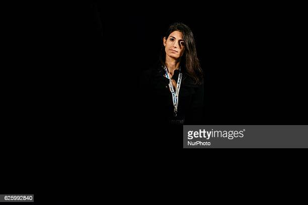 Mayor of Rome Virginia Raggi attends a demonstration for the upcoming constitutional referenda to be held on December 4 in downtown Rome on November...