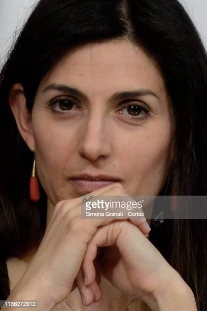 Mayor of Rome Virginia Raggi attends the presentation at Palazzo Chigi of the 76th edition of the Internazionali BNL d'Italia of tennis IBI 19 which...