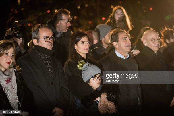 Mayor of Rome Virginia Raggi attends the turning on of Rome's christmas tree at Piazza Venezia the christmas tree is given to city of Rome from...