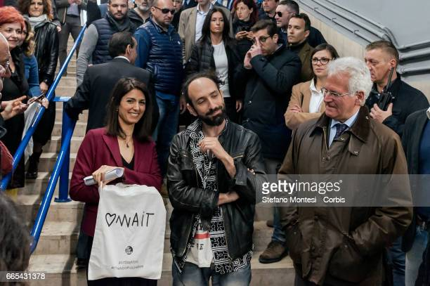Mayor of Rome Virginia Raggi inaugurates the initiative Art Stop Monti the Cavour metro station a redevelopment project of metro stations which will...