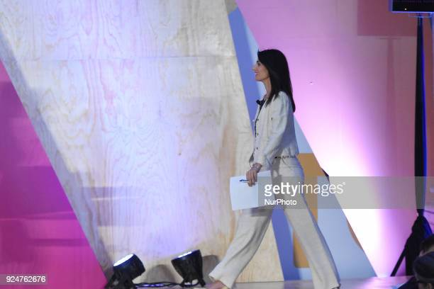 Mayor of Rome Virginia Raggi is seen in his speech during the Annual Women4Climate press conference as part of C40 Cities at Interactive Museum of...