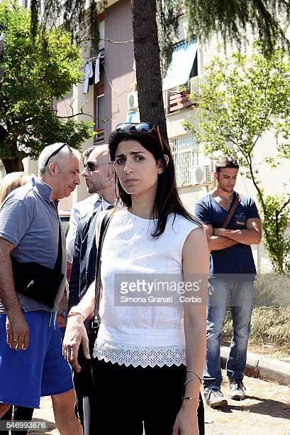 mayor of Rome Virginia Raggi makes a visit in Tor Bella Monaca district for emergency mice denounced by citizenson July 11 2016 in Rome Italy