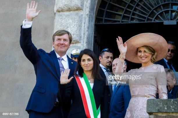 Mayor of Rome Virginia Raggi meets the King Willem Alexander and the Queen Maxima of the Netherlands at Capitol Hill in Rome, Italy on June 20, 2017....