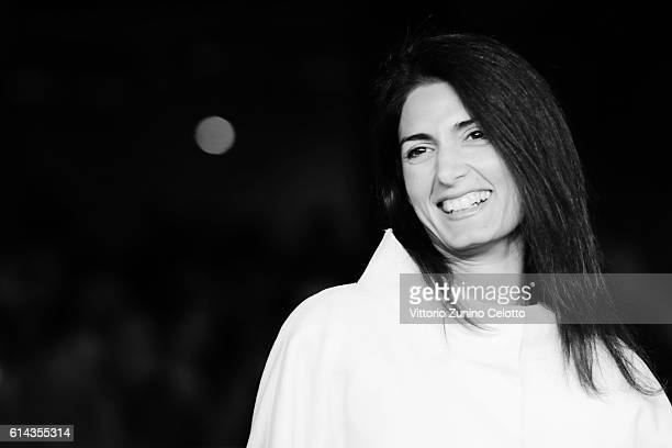 Mayor of Rome Virginia Raggi walks a red carpet on October 13 2016 in Rome Italy