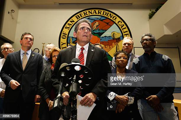 Mayor of San Bernadino California R Carey Davis speaks during a press conference at City Hall regarding the shooting that took place inside the...
