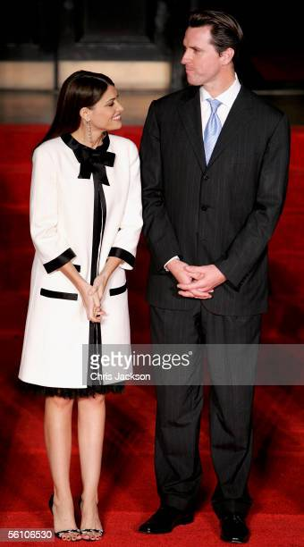 Mayor of San Francisco Gavin Newsom and his wife Kimberley Newsom wait to greet Camilla Duchess of Cornwall and Charles Prince of Wales at a...