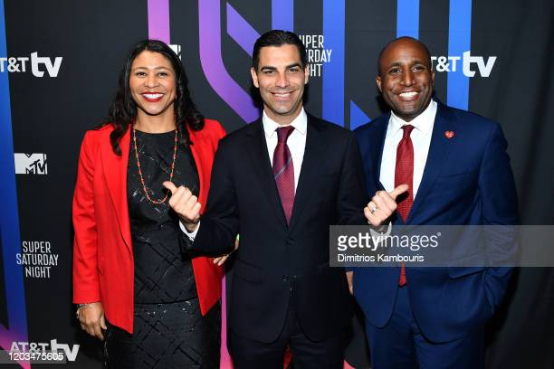 Mayor of San Francisco London Breed Mayor of Miami Francis X Suarez and Mayor of Kansas City Missouri Quinton Lucas attend ATT TV Super Saturday...