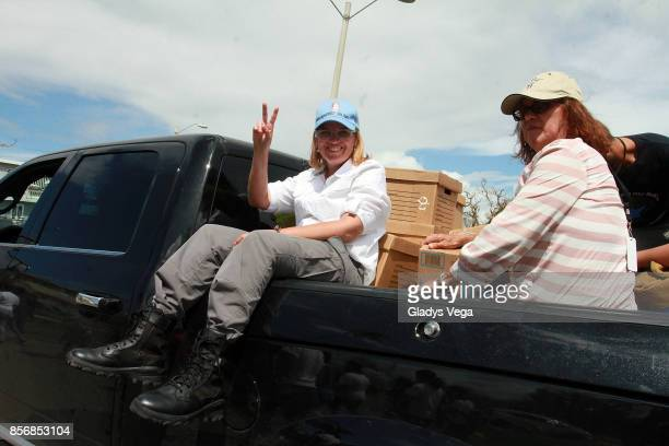 Mayor of San Juan Carmen Yulin Cruz is seen with supplies for victims of Hurricane Maria in Loiza on October 2 2017 in San Juan Puerto Rico