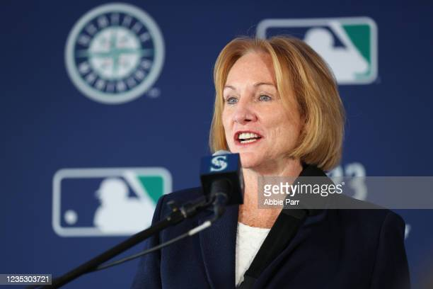Mayor of Seattle Jenny Durkan speaks during the 2023 Seattle All-Star Game Announcement at the Space Needle on Thursday, September 16, 2021 in...