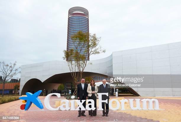 Mayor of Seville Juan Espadas President of Andalusia Susana Diaz and President of 'La Caixa' Isidro Faine attends the Caixaforum Seville Inauguration...