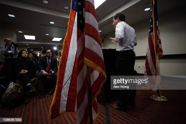 Mayor of South Bend IndianaPete Buttigeig speaks during a news conference January 23 2019 in Washington DC Buttigeig held a news conference to...