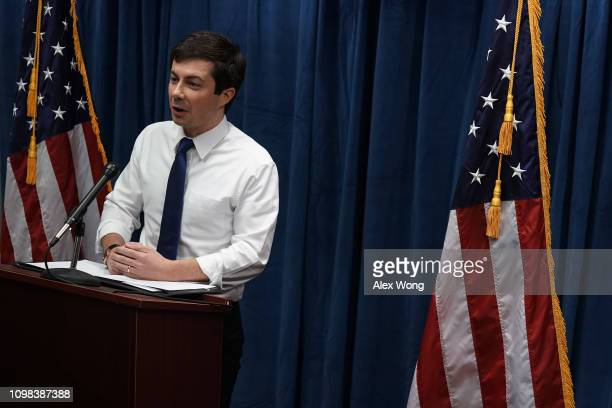 Mayor of South Bend Indiana Pete Buttigeig speaks during a news conference January 23 2019 in Washington DC Buttigeig held a news conference to...