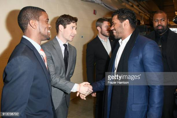 Mayor of St Paul MN Melvin Carter Mayor of Minneapolis MN Jacob Frey and Honoree Russell Wilson at BET Presents 19th Annual Super Bowl Gospel...