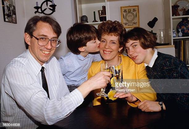Mayor of Strasbourg Catherine Trautmann celebrating her election with her husband and two daughters Magali and Lydie Trautmann was elected on March...