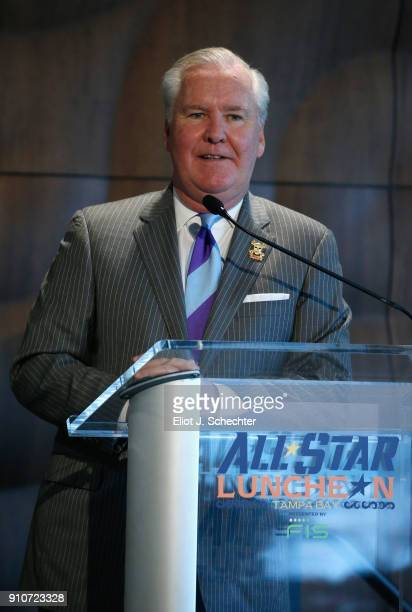 Mayor of Tampa Bob Buckhorn speaks during NHL AllStar luncheon at the Tampa Aquarium on January 26 2018 in Tampa Florida
