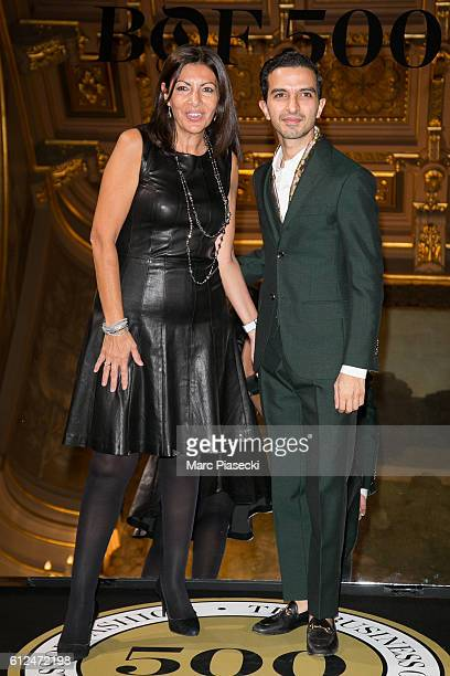 Mayor of the city of Paris Anne Hidalgo and Imran Amed attend the 'BoF500' Cocktail Event as part of the Paris Fashion Week Womenswear Spring/Summer...