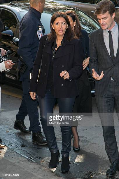 Mayor of the city of Paris Anne Hidalgo arrives to attend the 'CHANEL' fashion show on October 4 2016 in Paris France