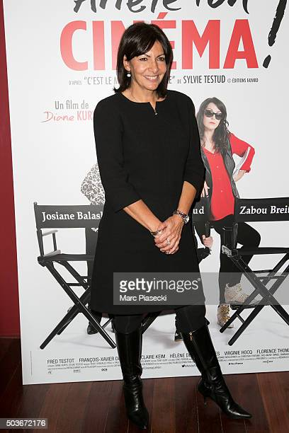 Mayor of the city of Paris Anne Hidalgo attends the 'Arrete ton Cinema' premiere at Publicis Champs Elysees on January 6 2016 in Paris France