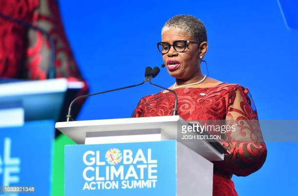 Mayor of the eThekwini Metropolitan Municipality Zandile Gumede speaks during a plenary session of the Global Climate Action Summit in San Francisco...