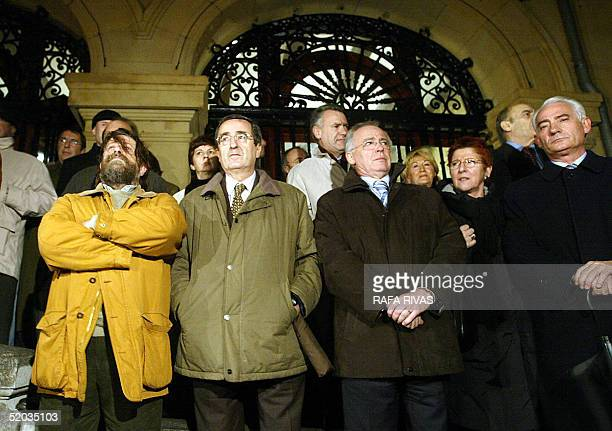Mayor of the northern Spanish Basque village of Getxo moderate nationalist Inaki Zarraoa stands next to Basque regional Government ministers Gabriel...