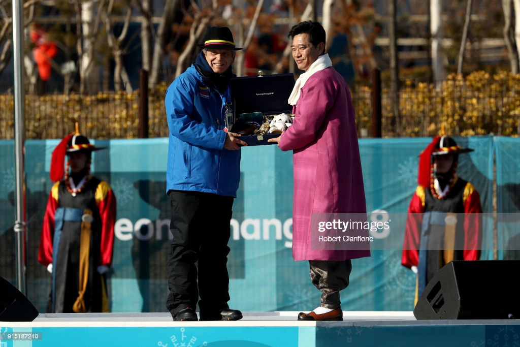 Mayor of the Olympic Village, Ryu Seung-Min greets the Colombia team delegation during a welcome ceremony ahead of the PyeongChang 2018 Winter Olympic Games at Gangneung Olympic Village on February 7, 2018 in Pyeongchang-gun, South Korea.