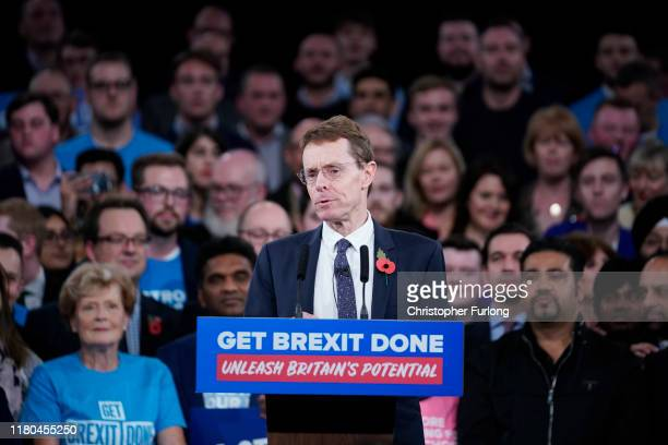 Mayor of the West Midlands Andy Street talks onstage at the launch of the Conservative Party's General Election campaign at the National Exhibition...