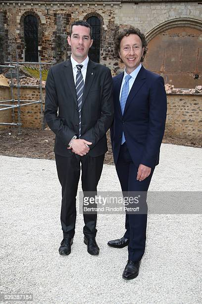 Mayor of ThironGardais Victor Provot and Stephane Bern attend the 'College Royal et Militaire de ThironGardais' Exhibition Rooms Inauguration on June...