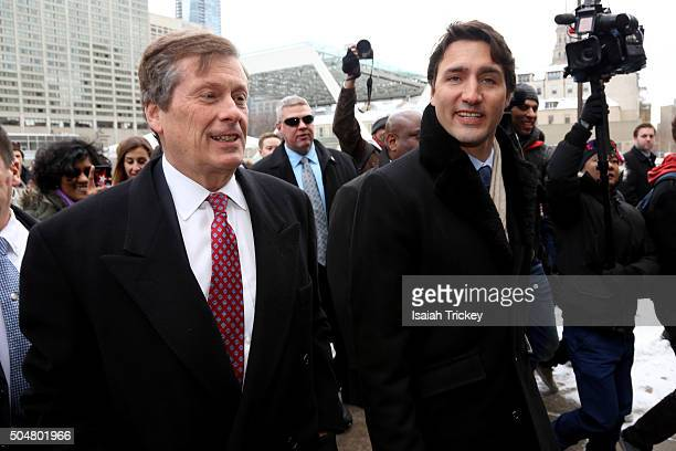 Mayor of Toronto John Tory and Canadian Prime Minister Justin Trudeau Visits Toronto City Hall at Toronto City Hall on January 13, 2016 in Toronto,...