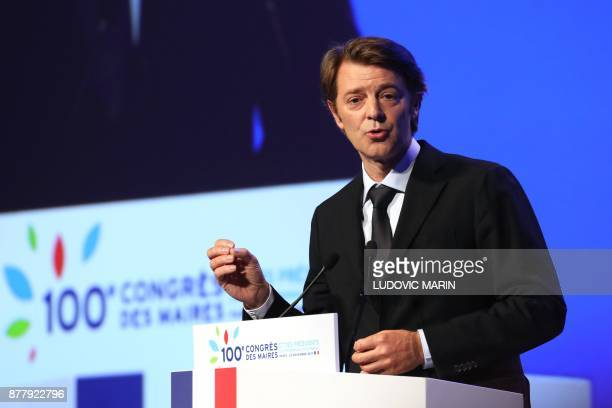 Mayor of Troyes and President of the Association of Mayors of France Francois Baroin delivers a speech during the 100th French Mayors congress on...