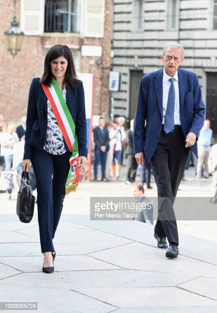 Mayor of Turin Chiara Appendino and Piero Fassino arrive at the memorial service for Sergio Marchionne at Duomo on September 14 2018 in Turin Italy A...