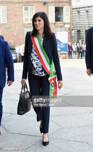 Mayor of Turin Chiara Appendino arrives at the memorial service for Sergio Marchionne at Duomo on September 14 2018 in Turin Italy A memorial service...