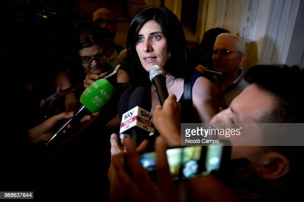 Mayor of Turin Chiara Appendino speaks with journalists after the meeting with Deputy Prime Minister of Italy and Minister of Economic Development...