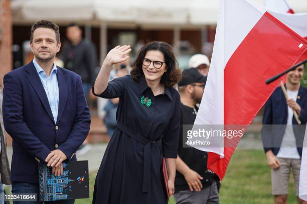 Mayor of Warsaw Rafal Trzaskowski, and Mayor of Gdansk Aleksandra Dulkiewicz are seen in Gdansk, Poland on 12 June 2021 Trzaskowski visits Gdansk to...