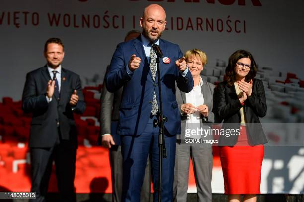 Mayor of Wroclaw Jacek Sutryk speaks during mass meeting of Freedom and Solidarity Days in Gdansk Gdansk in the 1980s became the birthplace of the...