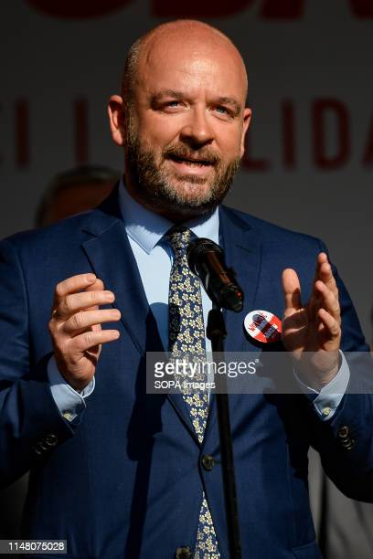 Mayor of Wroclaw, Jacek Sutryk speaks during mass meeting of Freedom and Solidarity Days in Gdansk. Gdansk, in the 1980s became the birthplace of the...