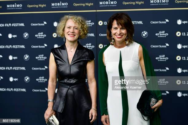 Mayor of Zurich Corine Mauch and Swiss Federal President Doris Leuthard attend the opening ceremony and 'Borg vs McEnroe' premiere at the 13th Zurich...