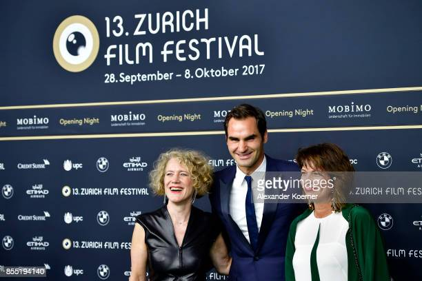Mayor of Zurich Corine Mauch Roger Federer and Swiss Federal President Doris Leuthard attend the opening ceremony and 'Borg vs McEnroe' premiere at...