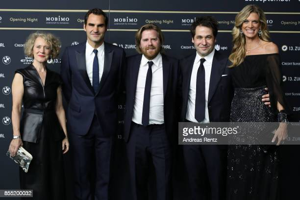 Mayor of Zurich Corine Mauch Roger Federer Janus Metz Pedersen Festival directors Karl Spoerri and Nadja Schildknecht attend the opening ceremony and...