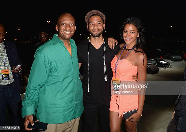 Mayor Oliver Gilbert Jussie Smollett and Claudia Jordan attend the 10th Annual Jazz in the Gardens Celebrating 10 Years of Great Music at Sun Life...