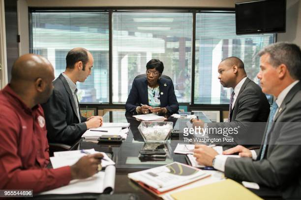 Mayor Ollie Tyler leads a meeting with Andy Glasgow, Patrick Kalil Furlong, William Bradford and Brian Crawford in Shreveport, Louisiana on April 24,...