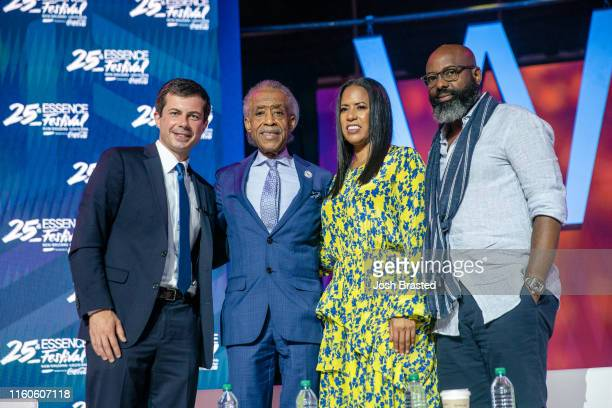 Mayor Pete Buttigieg Rev Al Sharpton Essence CEO Michelle Ebanks and Essence Festival Owner Richelieu Dennis pose for a photo at the 25th Essence...
