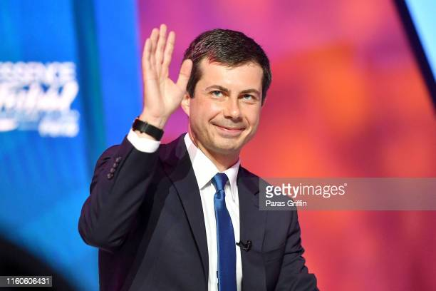 Mayor Pete Buttigieg speaks on stage at 2019 ESSENCE Festival Presented By CocaCola at Ernest N Morial Convention Center on July 07 2019 in New...