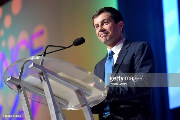 Mayor Pete Buttigieg speaks on stage at 2019 ESSENCE Festival Presented By Coca-Cola at Ernest N. Morial Convention Center on July 07, 2019 in New...