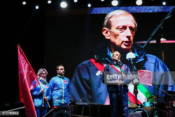 Mayor Piero Fassino speaks during the celebration of 10th year anniversary of the XX Turin Winter Olympic Games