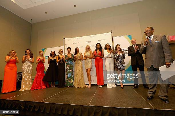 Mayor President of Baton Rouge Melvin Kip Holden speaks onstage with President of the Miss Universe Organization Paula M Shugart Nia Sanchez Tara...