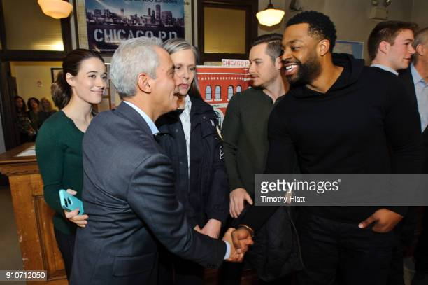 Mayor Rahm Emanuel Marina Squerciati Amy Morton Jesse Lee Soffer and LaRoyce Hawkins attend the 100th Episode Celebration of 'Chicago PD on January...