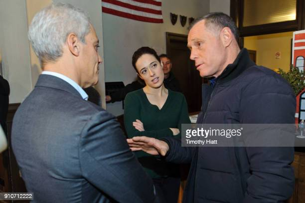 Mayor Rahm Emanuel Marina Squerciati and Jason Beghe attend the 100th Episode Celebration of Chicago PD on January 26 2018 in Chicago Illinois