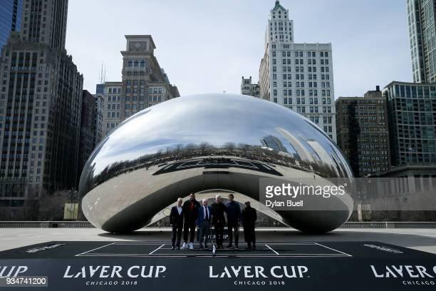 Mayor Rahm Emanuel Nick Kyrgios of Australia Rod Laver John McEnroe and Roger Federer of Switzerland pose for photos during the Laver Cup 2018...