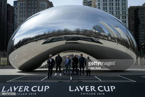 Mayor Rahm Emanuel speaks to the crowd during the Laver Cup 2018 Chicago Launch at Cloud Gate on March 19 2018 in Chicago Illinois
