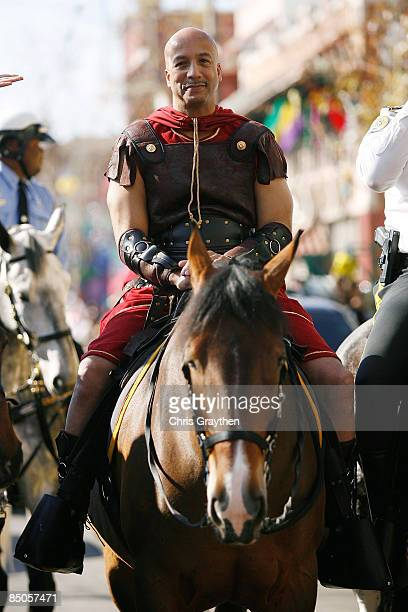 Mayor Ray Nagin rides on a horse while in costume at the start of the Zulu Parade on Mardi Gras Day on February 24 2009 in New Orleans Louisiana The...